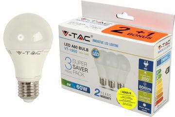 PIRN V-TAC 9W E27 LED 4000K (2+1) pilt