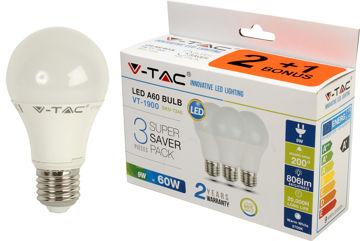PIRN V-TAC 9W E27 LED 3000K (2+1) pilt