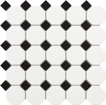 MOSAIIK 29.5X29.5 TECH OCTAGON WHITE MATT pilt