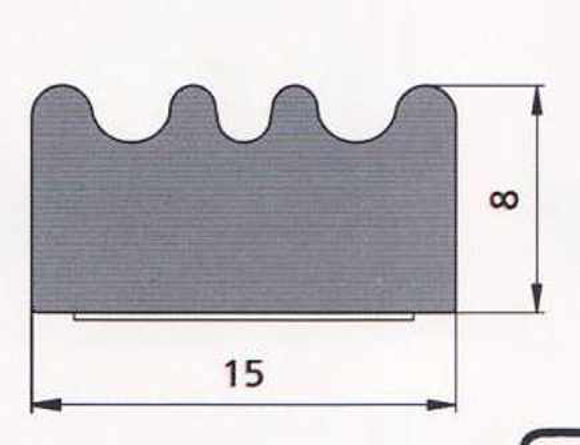 UKSETIHEND EPDM MUST 15x8mm  pilt