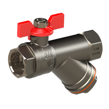 """Picture of BALL VALVE ½"""" FF WITH FILTER BUTTERFLY HANDLE"""